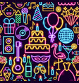 birthday party neon seamless pattern vector image vector image