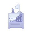 blue shading silhouette of nightstand with vector image vector image