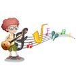 boy plays guitar and music notes in background vector image vector image