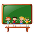boys and girls standing on table vector image vector image