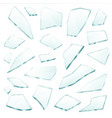 broken glass fragments shards realistic set vector image vector image