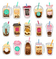 bubble tea plastic cups with summer bubble vector image vector image