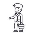 businessman with case sign line icon sign vector image vector image