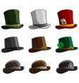 cartoon different caps and hats icon set vector image vector image
