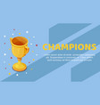 champion golden trophy cup with colorful stars vector image vector image