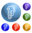 chemical test tube icons set vector image vector image