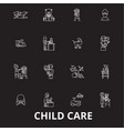 child care editable line icons set on black vector image vector image