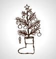 Christmas creative hand drawn fir tree vector image
