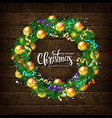 christmas wreath with fir branches vector image