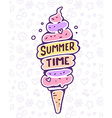 colorful of very high ice cream with text on vector image vector image