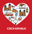 czech republic country landmarks and food poster vector image vector image
