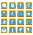 easter items icons azure vector image vector image