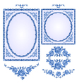 Faience blue frames floral ornament vintage style vector image vector image