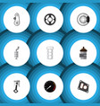flat icon parts set of cambelt silencer packing vector image vector image