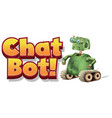 font design for chat bot with green robot on vector image vector image