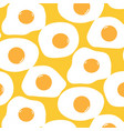 fried egg pattern with yellow background vector image