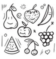fruits and berries pear apple banana cherry vector image vector image