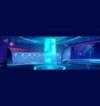 futuristic school hallway interior at night vector image vector image
