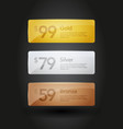 gold silver and bronze web site buttons templates vector image