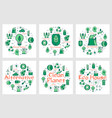 green eco concept icons in collection vector image