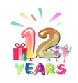 greeting card for twelve year vector image vector image