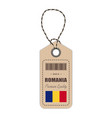 hang tag made in romania with flag icon isolated vector image vector image