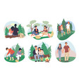 happy couples camping in forest flat vector image vector image