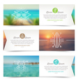 horizontal banners with line drawing summer vector image vector image