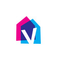 letter v house home overlapping color logo icon vector image