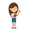 little girl playing ping pong character vector image vector image