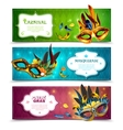 Masquerade Banners Set vector image vector image