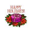 merry christmas happy holiday gifts sketch vector image