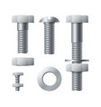 metal screws stainless realistic bolts with vector image vector image
