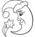 moon and star christmas coloring page vector image vector image