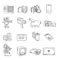 Photo video doodle icons vector image