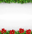 pine with poinsettia on grayscale vector image vector image