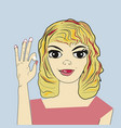 pretty smiling woman showing ok sign vector image vector image