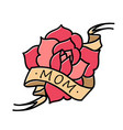 rose tattoo with ribbon and word mom and mother vector image vector image