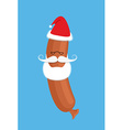 Sausage Santa Claus Delicacy with beard and vector image