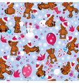 Seamless pattern with teddy bears snowflakes vector image vector image