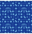 seamless retro blue christmas pattern with deers vector image vector image
