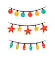 set christmas holiday garlands in a flat style vector image