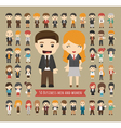 Set of 50 business men and women vector image vector image