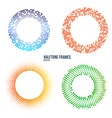 set of halftone color circle frames design vector image