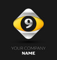 silver number nine logo in silver-yellow square vector image