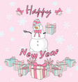 snowman with gift for postcard in vector image