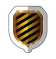 sticker golden square shield with colorful vector image vector image
