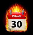 thirtieth january in calendar burning icon on vector image vector image
