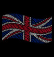 waving great britain flag collage of dna spiral vector image