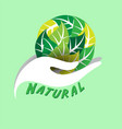 natural hand support leaves earth green background vector image